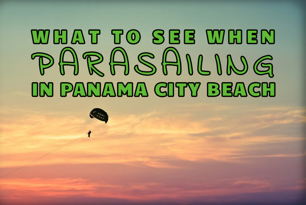 """What to See When Parasailing in Panama City Beach"" over an image of someone parasailing"